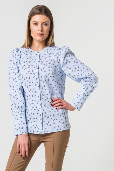 Женская рубашка без воротника принт перья на небесном