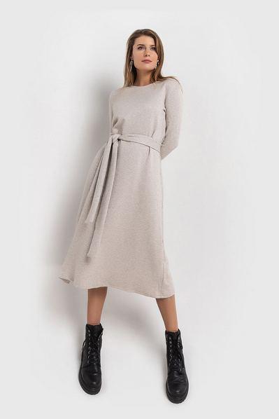 Бежевое платье миди с поясом из ангоры