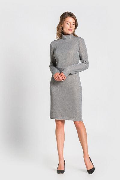 Трикотажное платье-гольф с люрексом светло-графитовое