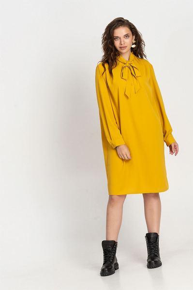 Деми платье с завязкой горчичное большой размер
