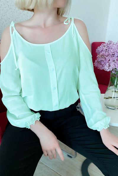 Блуза с открытими плечами на резинке бирюзовая