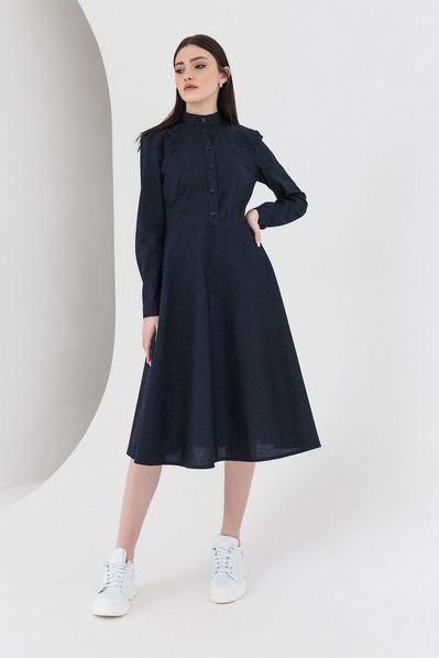 Синее платье рубашка в горох из коттона