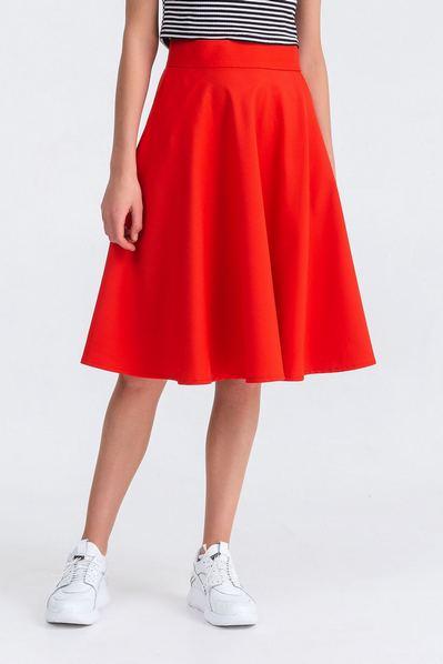 Красная юбка полусолнце из костюмной ткани