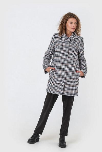 Зимнее пальто с воротником принт гусиная лапка на молочном