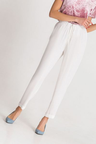 Льняные брюки с кулиской молочные