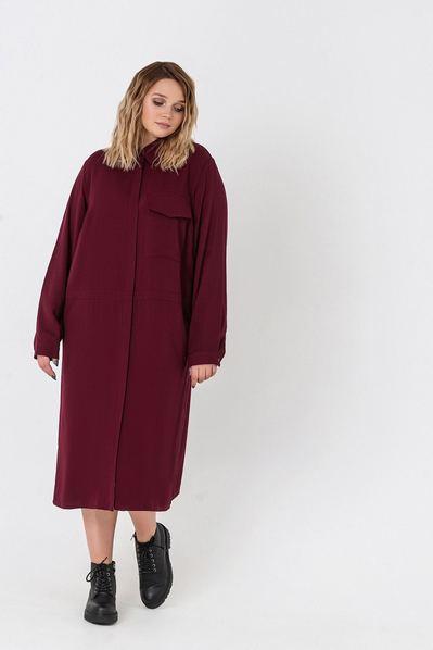 Бордовое платье-рубашка из плотного штапеля большой размер