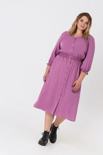 Штапельное платье деми ярко-сиреневое большой размер