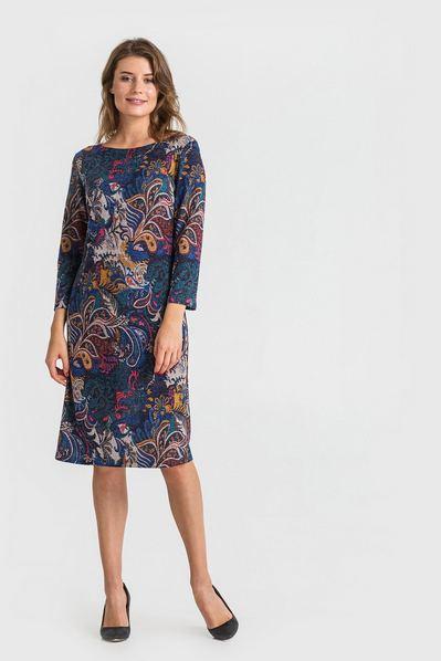 Трикотажное платье с восточным принтом на синем фоне