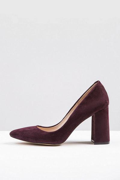 Замшевые туфли-лодочки бордо