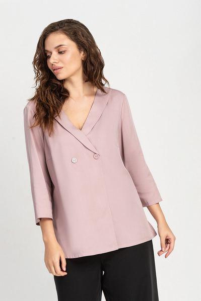 Прямая блузка на запах фрезовая большой размер