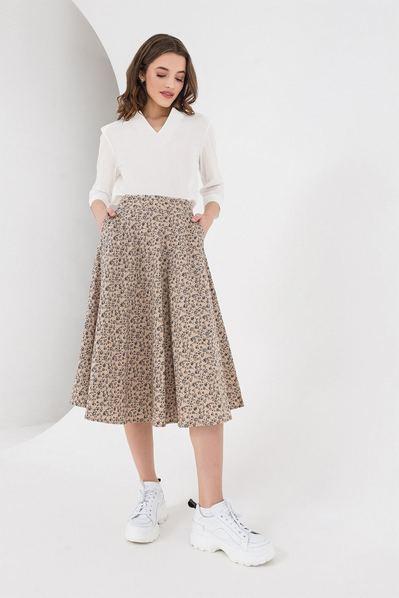 Льняная юбка миди мелкоцвет на айвори