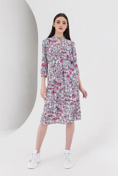 Платье с завязкой принт цветы на стальном