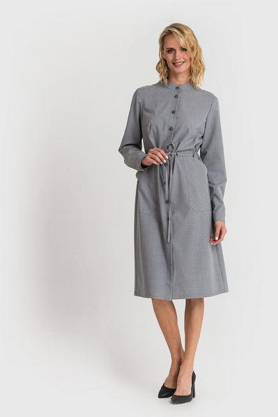 Платье-рубашка с накладными карманами и кулиской в клетку на оливковом фоне
