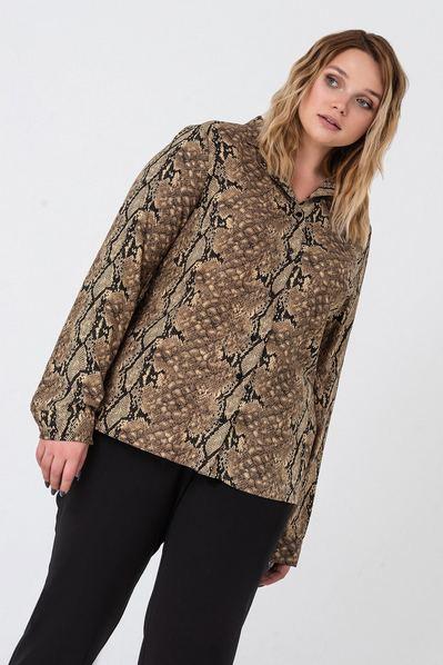 Женская блузка змеиный принт штапельная большой размер