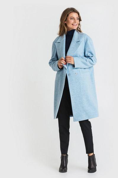 Женское пальто шерстяное с широким воротником небесного цвета
