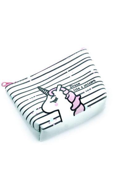 Белый кошелек в полоску с единорогом