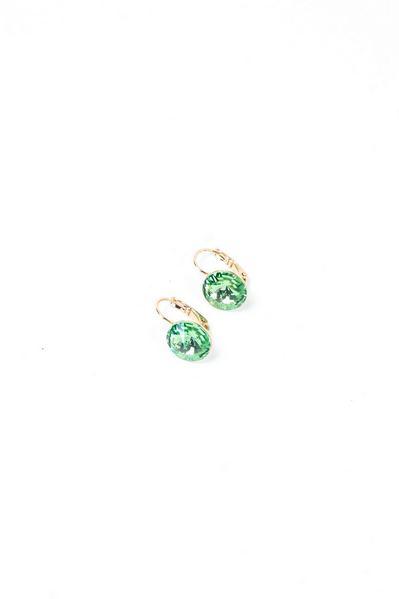 Серьги золотистые с зеленым кристаллом Swarovski