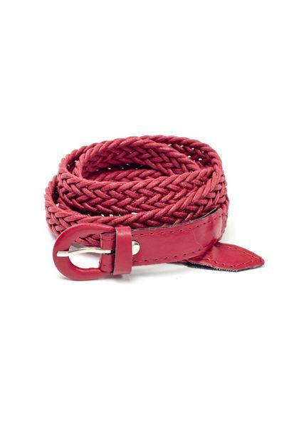 Плетеный пояс красный