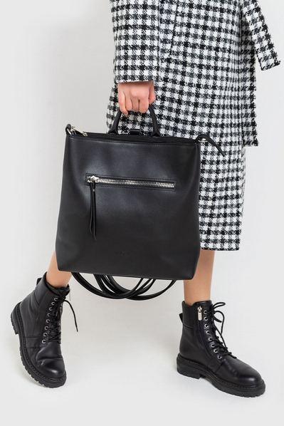 Черный рюкзак из эко-кожи со змейкой