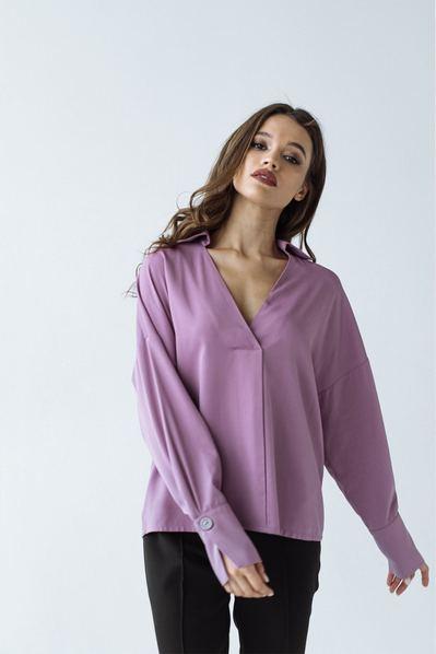 Штапельная прямая блуза фрезового цвета