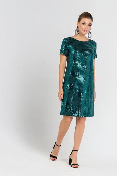 Мини платье с пайетками и коротким рукавом изумрудное