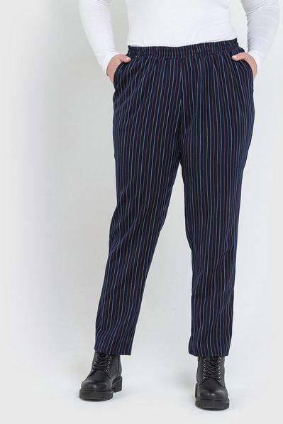 Темно-синие брюки в полоску из костюмной ткани большой размер