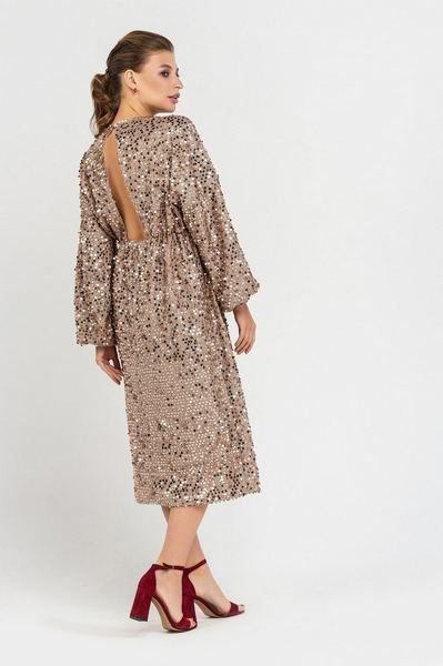 Золотое платье с открытой спиной в пайетки