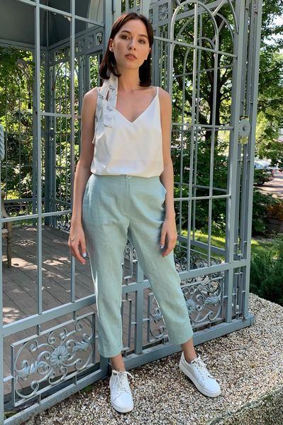 Женские брюки с манжетами мятного цвета