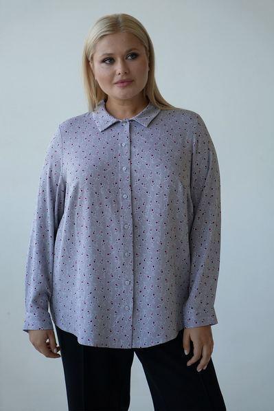 Женская прямая рубашка цветы на сером большой размер