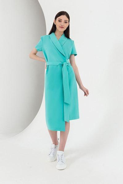 Бирюзовое платье на запах с поясом и асимметричным низом