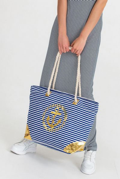 Пляжная сумка золотой якорь на сине-белой полоске