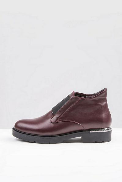 Кожаные ботинки с резинкой бордо