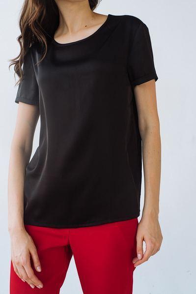 Женская футболка из искусственного шелка черная