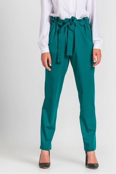 Женские брюки с кулиской из костюмной ткани изумрудные