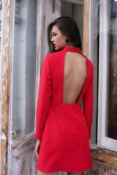 Красное платье жакет с открытой спиной