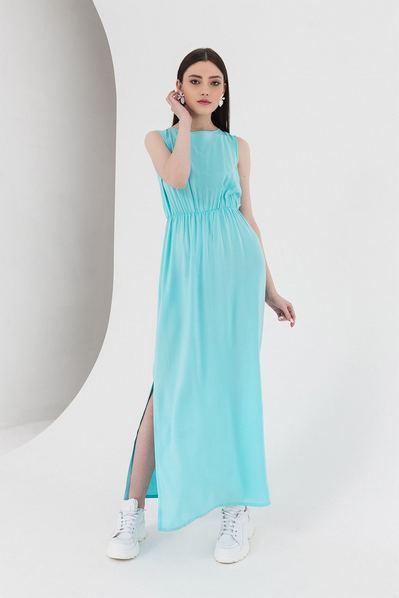 Мятное макси платье на резинке с завязками на шее