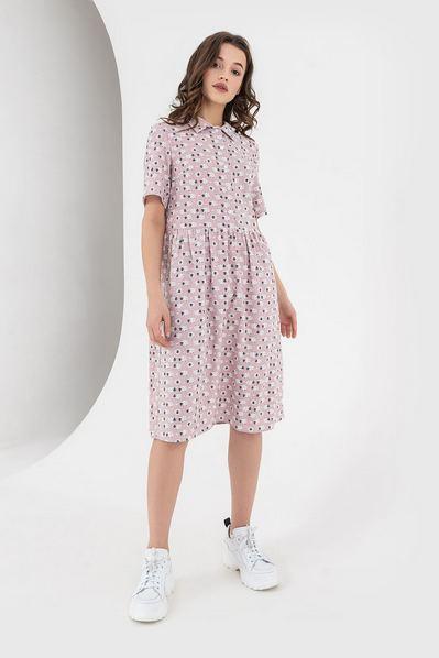 Льняное платье рубашка с принтом овечки на фрезовом