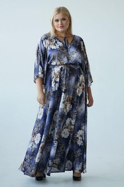 Темно-синее длинное платье с завязкой в молочные цветы большой размер