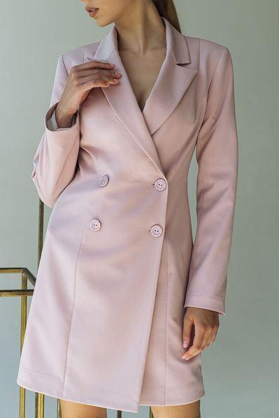 Платье-жакет из костюмной ткани фрезовое