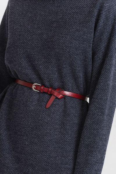 Кожаный ремень женский темно-красный
