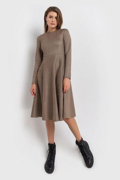 Замшевое платье с юбкой полусолнце гусиная лапка на песочном
