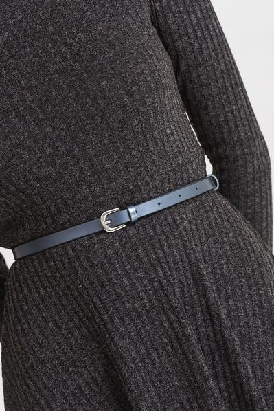 Кожаный ремень женский стального цвета