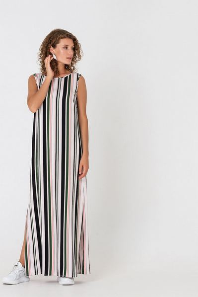Длинное платье майка в полоску оливково-розовую