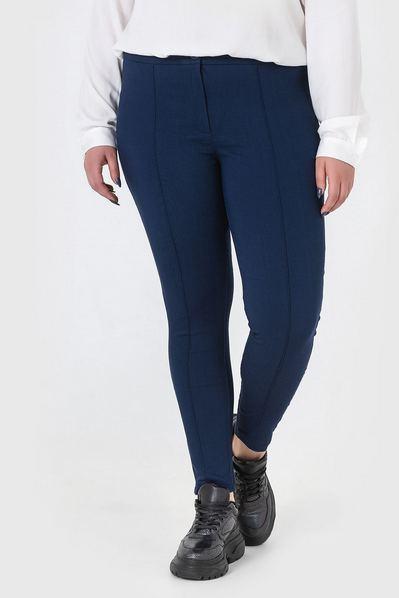 Узкие брюки с отстроченными стрелками темно-синие