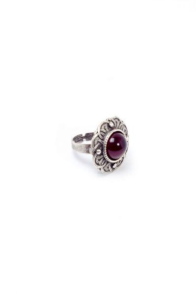 Кольцо Безанта серебро с рубиновой вставкой