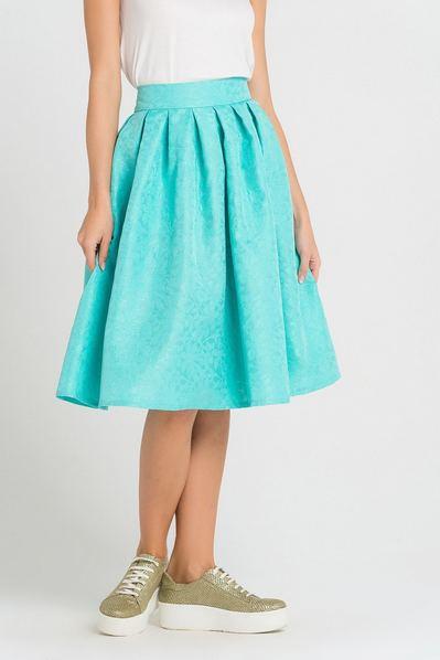 Мятная юбка со складками из фактурного жаккарда в цветы