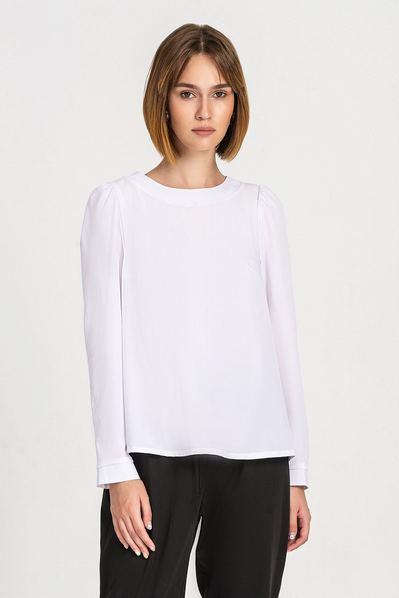 Белая блузка с завязкой на спине из софта