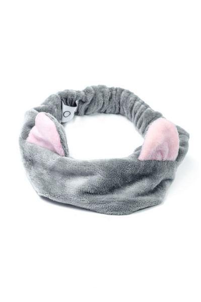 Плюшевая повязка с ушками серо-розовая