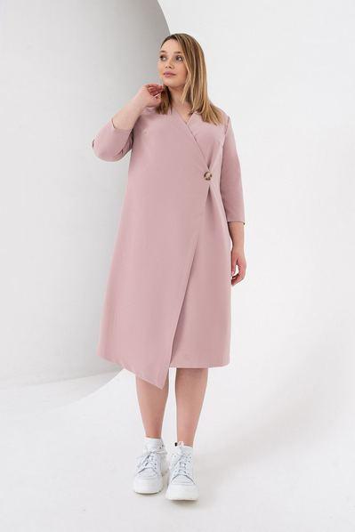 Деми платье с запахом фрезовое большой размер