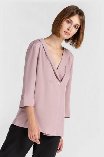 Прямая блузка на запах фрезовая
